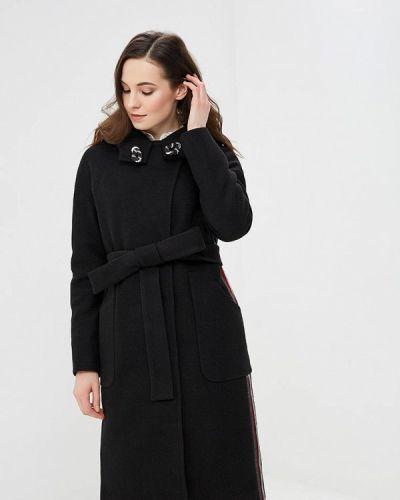 Черное пальто с капюшоном Grand Style