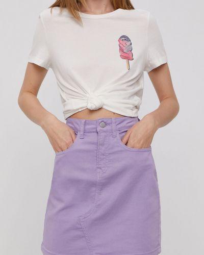 Fioletowa spódnica mini bawełniana na co dzień Jacqueline De Yong