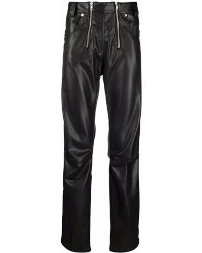Czarne spodnie z wysokim stanem skorzane Gmbh