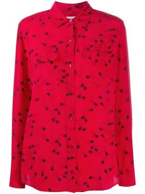 Шелковая красная классическая рубашка с воротником на пуговицах Equipment