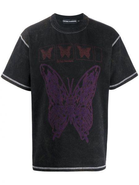 Свободная черная прямая рубашка с короткими рукавами United Standard
