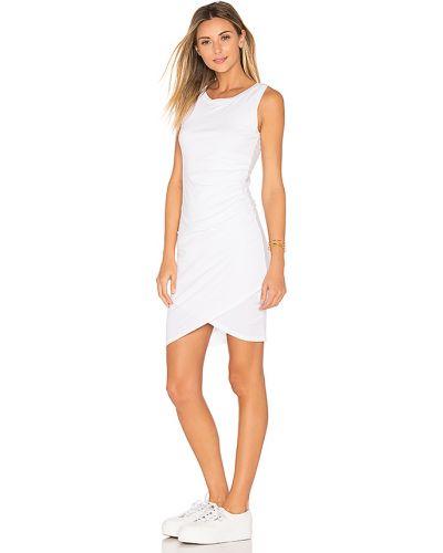 Biały udrapować bawełna sukienka bodycon z falbankami Bobi