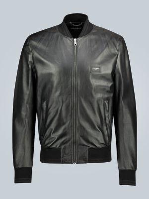 Классическая черная кожаная куртка с манжетами с декоративной отделкой Dolce & Gabbana