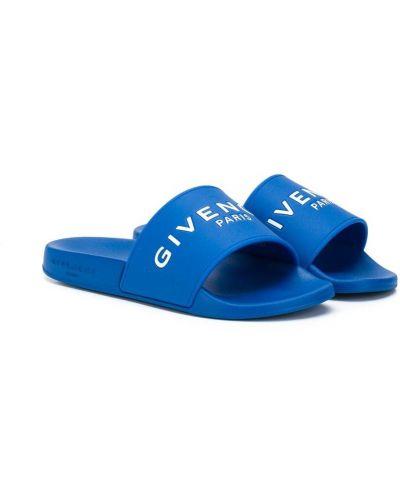 Открытые синие шлепанцы без застежки с открытым носком Givenchy Kids