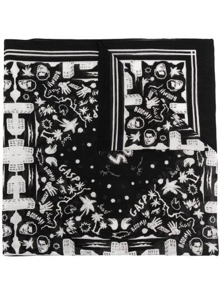 Czarny szalik bawełniany z printem Ps Paul Smith