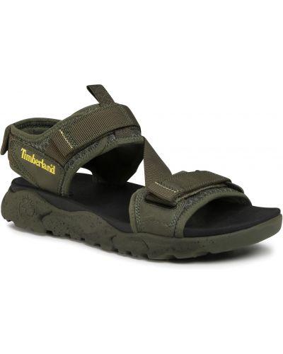 Zielony skórzany sandały siatkowaty z siatką Timberland