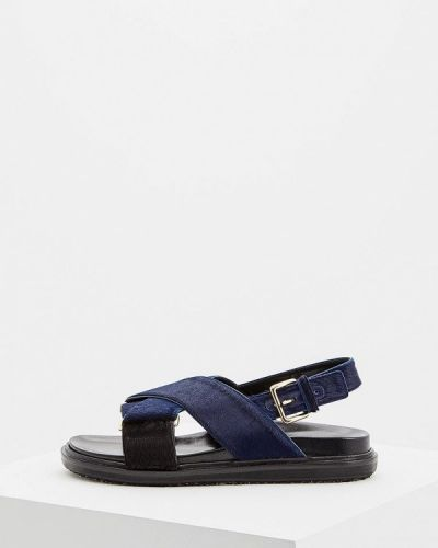 Синие сандалии с мехом Marni
