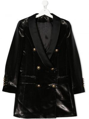 Бархатная черная длинная куртка двубортная Balmain Kids