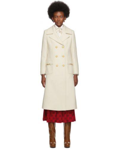 Шерстяное белое длинное пальто двубортное Gucci