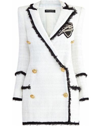 Платье мини с бахромой на пуговицах Balmain