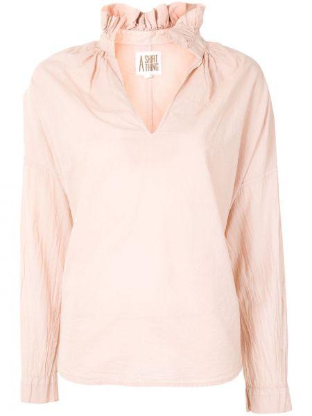 Розовая блузка с длинным рукавом с оборками с V-образным вырезом свободного кроя A Shirt Thing