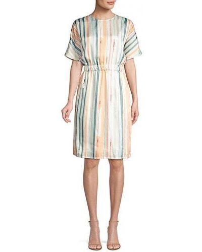 Платье винтажное с короткими рукавами в полоску Peserico
