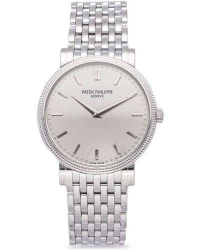 Белые часы серебристые Patek Philippe
