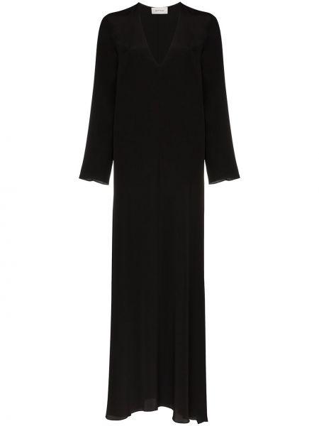 Черное платье макси с длинными рукавами с V-образным вырезом на молнии Matteau