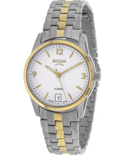 Кварцевые часы водонепроницаемые с круглым циферблатом Boccia Titanium