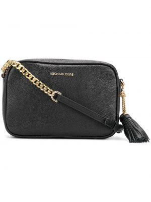 Черная сумка через плечо с перьями прямоугольная Michael Michael Kors