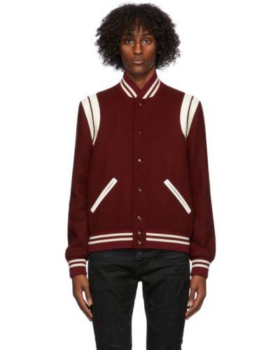 Biały długa kurtka z mankietami z kieszeniami z długimi rękawami Saint Laurent