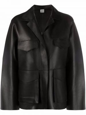 Армейская черная кожаная длинная куртка Toteme