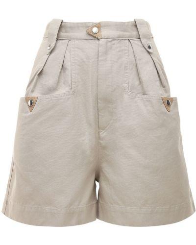Хлопковые бежевые шорты с карманами Isabel Marant étoile