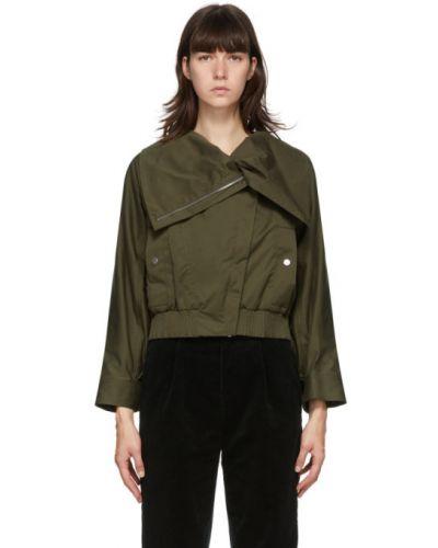 Зеленая длинная куртка с манжетами с воротником с карманами 3.1 Phillip Lim