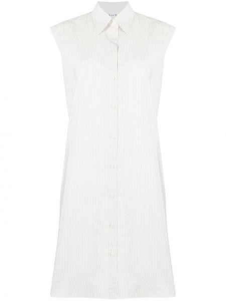 Белое платье-рубашка в полоску без рукавов Acne Studios