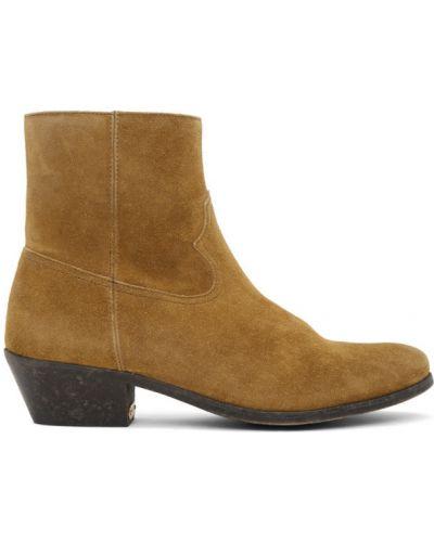 Skórzany brązowy buty obcasy na pięcie prążkowany Golden Goose