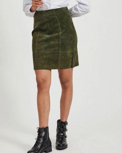 Кожаная юбка хаки Vila