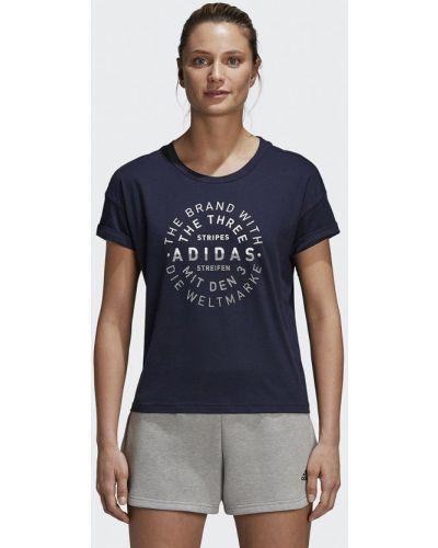 Синяя футболка 2019 Adidas