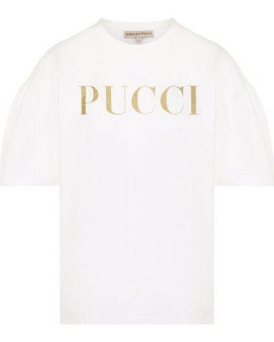 Хлопковая футболка с логотипом бренда Emilio Pucci
