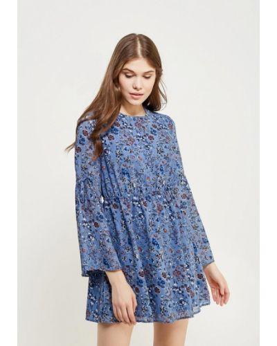 Голубое платье с длинными рукавами Glamorous