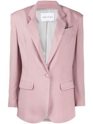 С рукавами розовый классический пиджак с карманами квадратный Hebe Studio