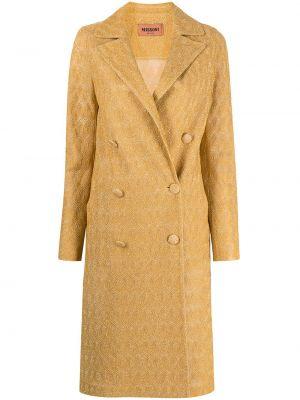 Желтое длинное пальто на пуговицах двубортное Missoni