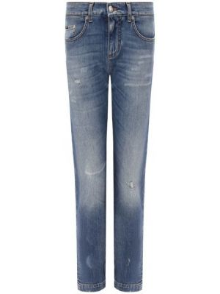 Укороченные джинсы синие с эффектом потертости Dolce & Gabbana