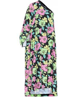 Вечернее платье с цветочным принтом черное Balenciaga