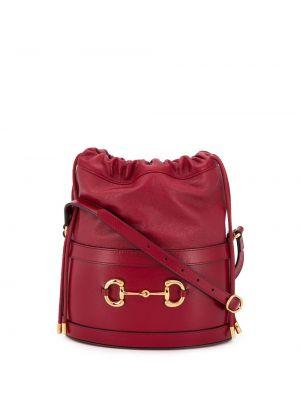 Красная сумка на плечо с пряжкой на шнурках металлическая Gucci