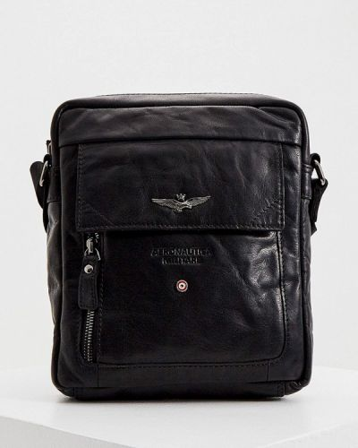 Кожаная черная сумка через плечо Aeronautica Militare