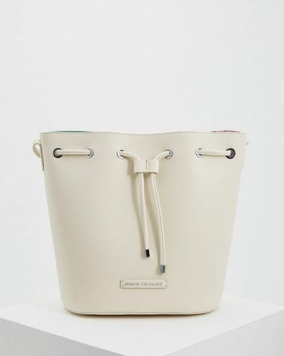 Белая кожаный сумка Armani Exchange