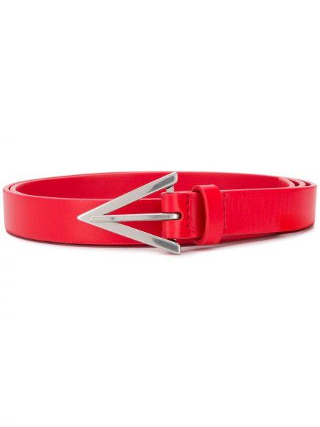 Кожаный красный ремень с пряжкой с перфорацией Bottega Veneta