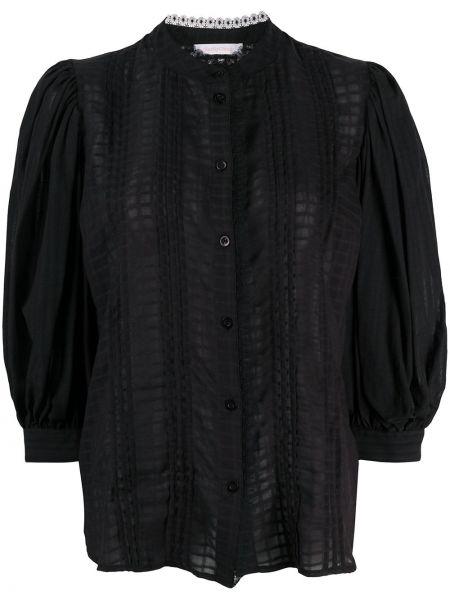 Шифоновая черная прямая блузка с воротником See By Chloé