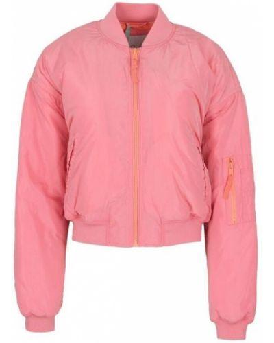 Z rękawami różowy kurtka jeansowa z haftem Pepe Jeans