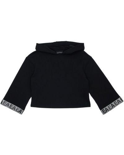 Bawełna bawełna czarny bluza z kapturem z mankietami Emporio Armani