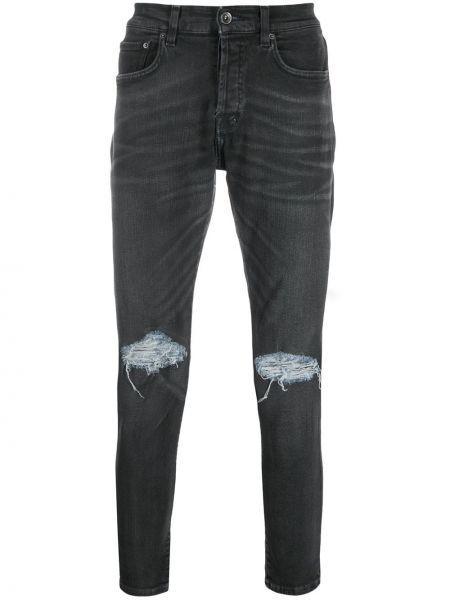 Czarne jeansy skorzane z paskiem Prps