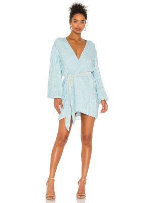 Satynowa niebieska sukienka kopertowa Retrofete