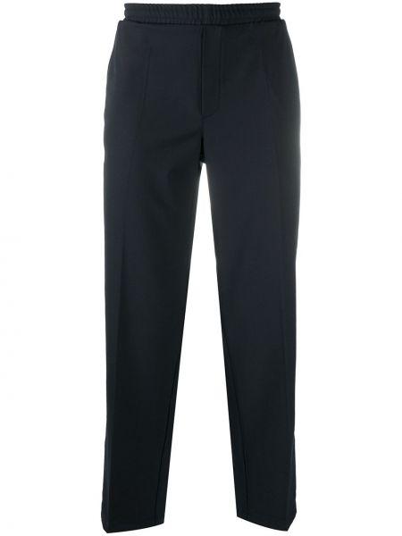 Прямые синие прямые брюки с поясом из вискозы Soulland