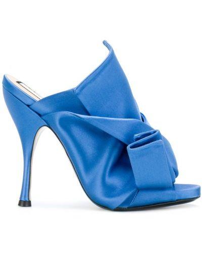 Синие мюли кожаные N21