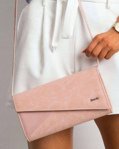 Różowa kopertówka elegancka skórzana Rovicky