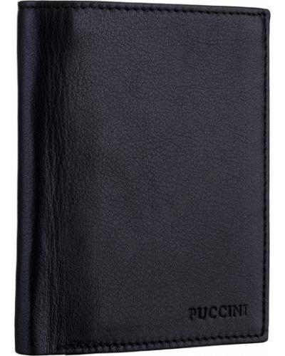 Кожаный черный кожаный кошелек Puccini