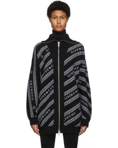 Czarny sweter z kołnierzem z długimi rękawami z mankietami Givenchy