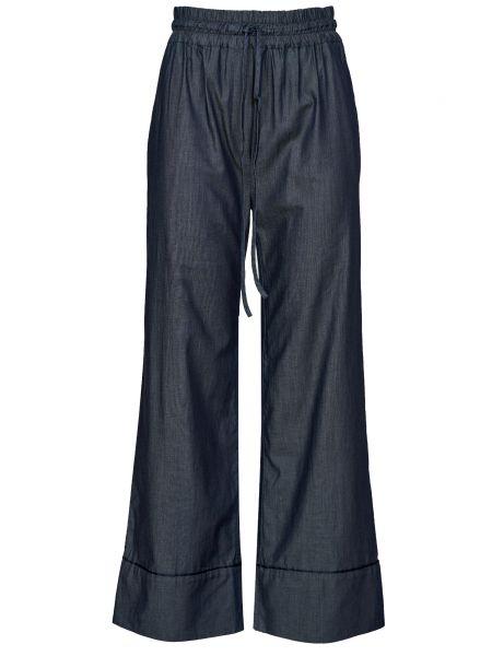 Хлопковые синие брюки с поясом Bagutta