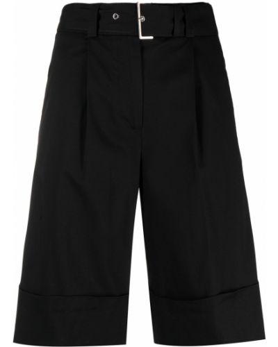 Хлопковые черные шорты с пряжкой Peserico